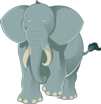 Vector image of a cartoon gray elephant