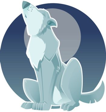 Vector image of a gray wolf which howls at the moon