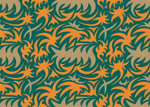 Abstract seamless thorny organic pattern. grey, orange and green. vector illustration