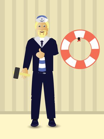 Repairs. Hang the life ring. Marine theme. People are a guy sailor captain. Isolated on white background. Vector illustration for your design.