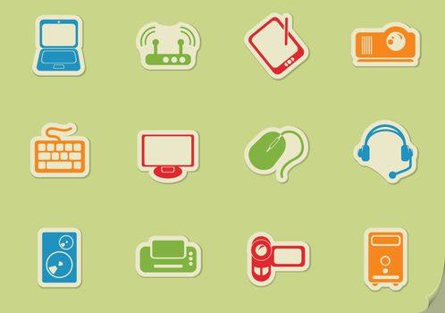 Computer equipment simple vector icons on glass buttons