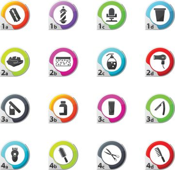 Set of hairdressing web icons for user interface design