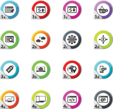 Set of SEO and Development web icons for user interface design