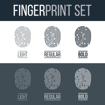 Fingerprints icons Set for Identity Person Security ID on Dark and White Background