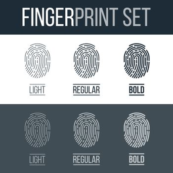 Set of Fingerprints Icons for Security ID on Dark and White Background