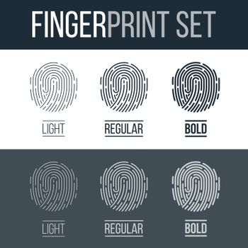 Fingerprints Set Print for Identity Person Identification Authorization System on Dark and White Background