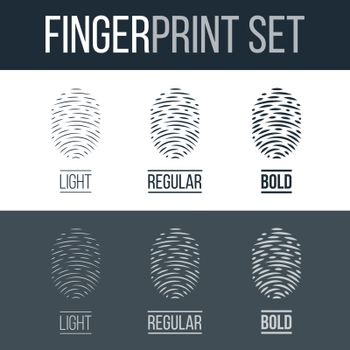 Abstract Biometric Fingerprints Set Print for Identity Person