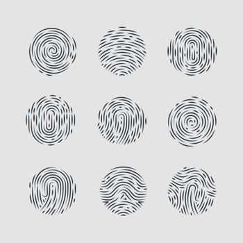 Abstract Round Fingerprint Patterns for Identity Person Security ID on Gray Background for Design