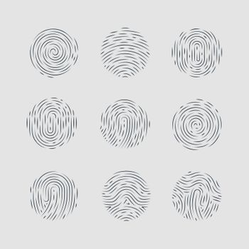 Abstract Round Fingerprint Patterns Detailed for Identity Person Security ID on Gray Background