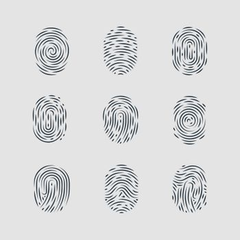 Abstract Types of Fingerprint Patterns for Identity Person Security ID on Gray Background for Design