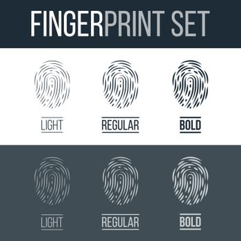 Abstract Set of Fingerprints Icons for Security ID on Dark and White Background