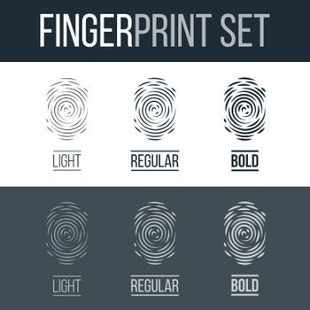 Abstract Set of Fingerprints for Identity Person Security ID on Dark and White Background