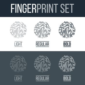 Abstract Biometric Fingerprints Set Print for Security ID on Dark and White Background for Design