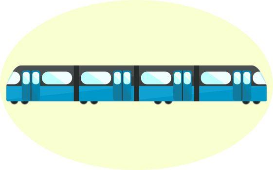 Flat blue undeground icon, subway symbol, city public transport
