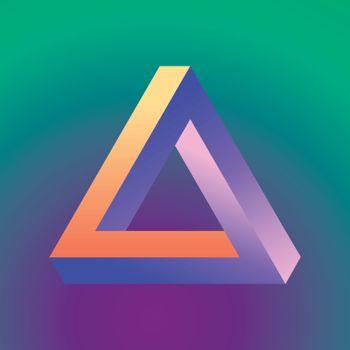 Mobius triangle made in violet, orange and blue colors on the gradient background. Abstract object. Mathematical figure