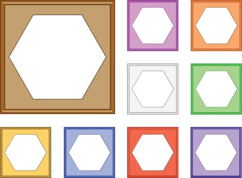 colorful modern style of square frame with hexagon inside for image, 3d vector