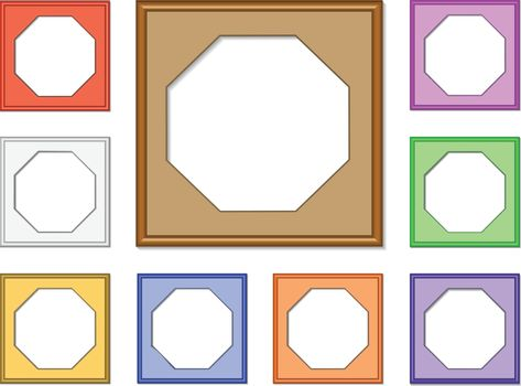 colorful 3d vector set of octagon frames for collect picture, image and gallery on white background
