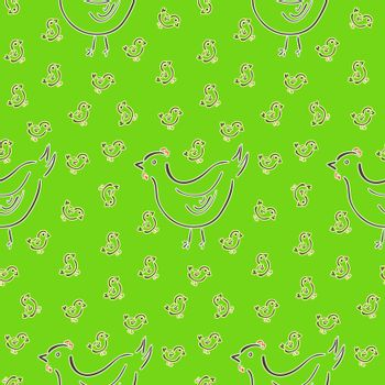 Seamless pattern with hen and chicks silhouettes on green background