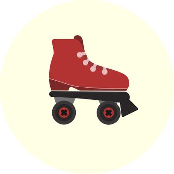 Flat red skate rollers icon, teenager transport