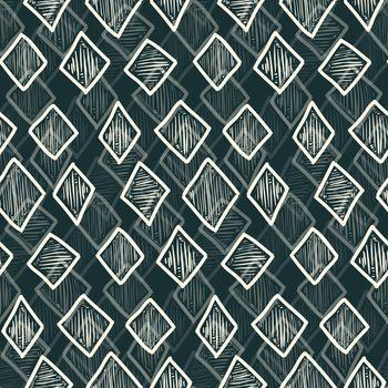 Abstract monochrome hand drawn textured rhombus seamless pattern, lozenge pattern