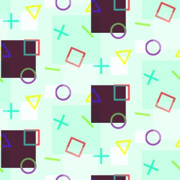 Seamless pattern with colorful simple geometric elements