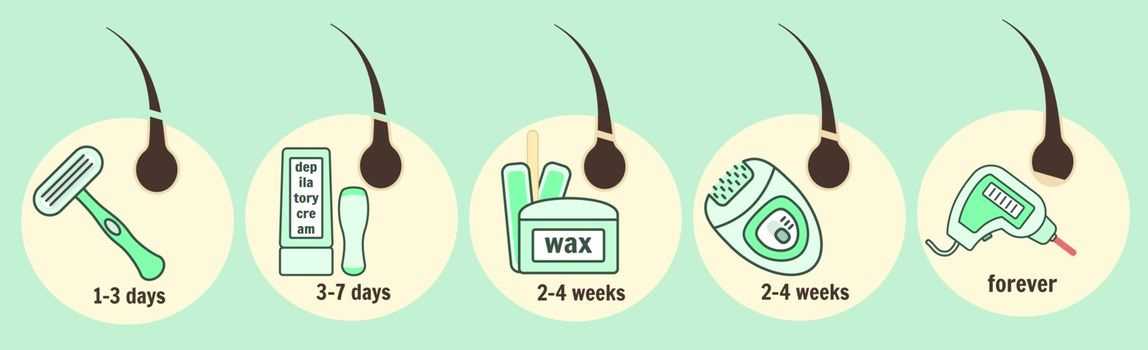 Hair removal methods infographic, epilation and depilation instruments and time of hair growth regeneration