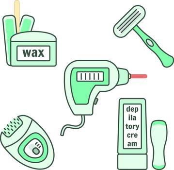 Depilation and epilation instruments set. Wax, laser, cream, razor, epilator tools for female delicate body care