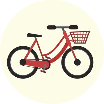 Red flat city bike with front basket, vector bicycle with cart icon, ecological city transport