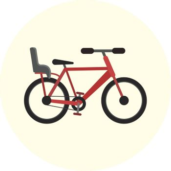 Flat red bike with baby seat, vector bicycle with back child seat, ecological city transport