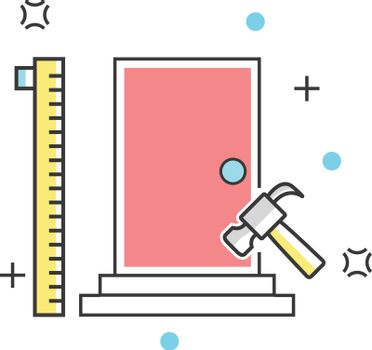 Door and measurement construction color line icon. Buildings, property, architecture and materials vector illustration