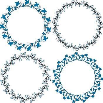 Set of decorative illustrated circle frames made of floral elements in blue