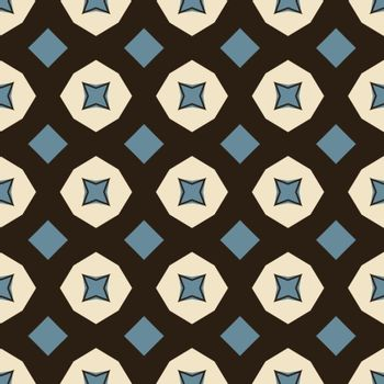 Seamless illustrated pattern made of abstract elements in beige,turquoise and black