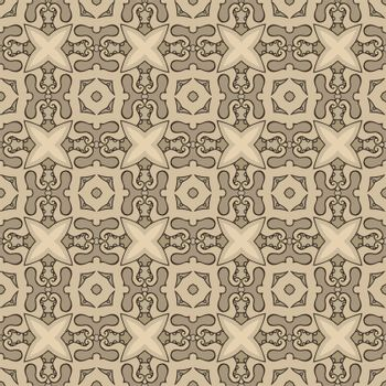 Seamless illustrated pattern made of abstract elements in beige, brown and black