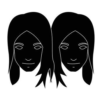 Simple flat black gemini icon vector