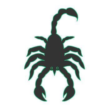 Simple flat color scorpio icon vector