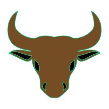 Simple flat color taurus icon vector