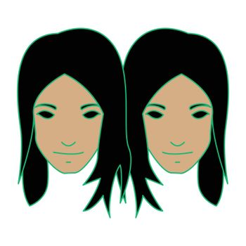 Simple flat color gemini icon vector