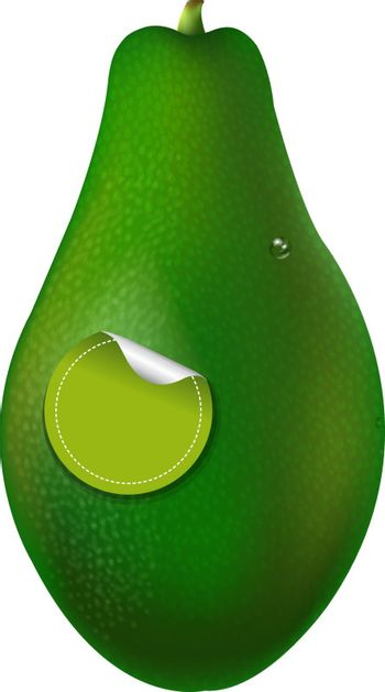 Organic Avocado, With Gradient Mesh, Isolated On White Background
