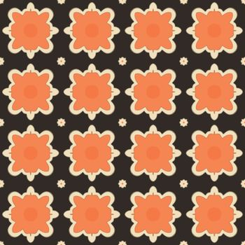 Seamless illustrated pattern made of abstract elements in beige, orange and black