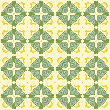 Seamless illustrated pattern made of abstract elements in beige,yellow and green