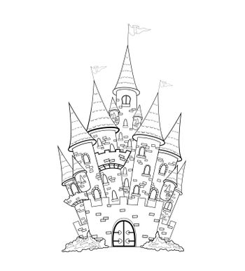 Outline sketch of the castle. The outlines of the castle on a white background.