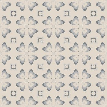 Seamless illustrated pattern made of abstract elements in beige and shades of grey