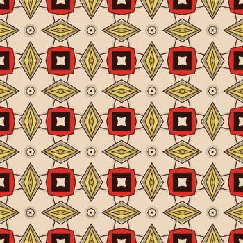 Seamless illustrated pattern made of abstract elements in beige, red, grey, yellow and black