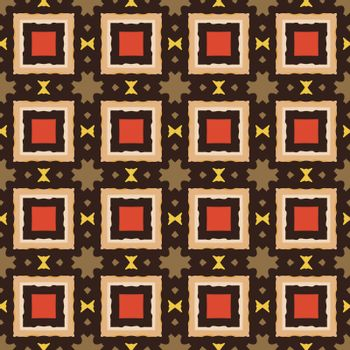 Seamless illustrated pattern made of abstract elements in beige, red, yellow, brown and black