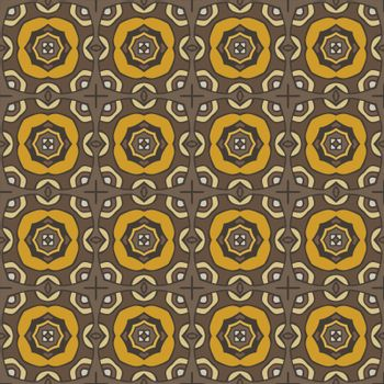 Seamless illustrated pattern made of abstract elements in beige, yellow, orange and brown