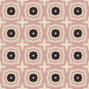 Seamless illustrated pattern made of abstract elements in beige, pink and black