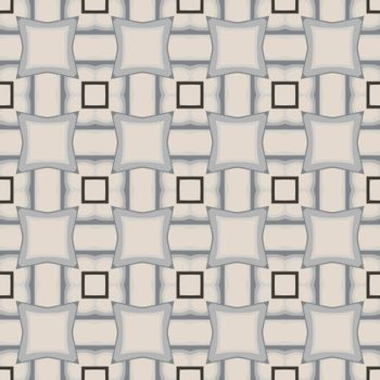 Seamless illustrated pattern made of abstract elements in beige, black and shades of grey