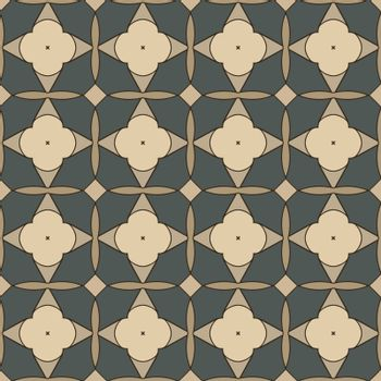 Seamless illustrated pattern made of abstract elements in beige, brown, green and black