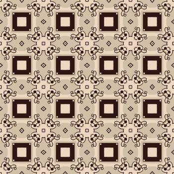 Seamless illustrated pattern made of abstract elements in beige, grey and black