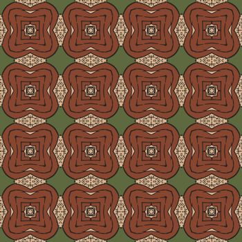 Seamless illustrated pattern made of abstract elements in beige, green, brown and black
